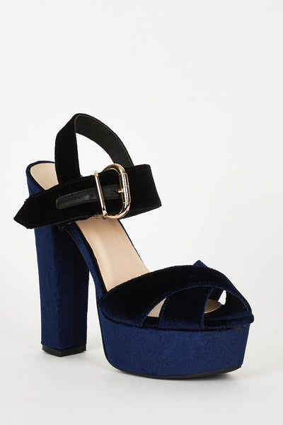 Navy And Black Velvet Block Heel Platform Sandals