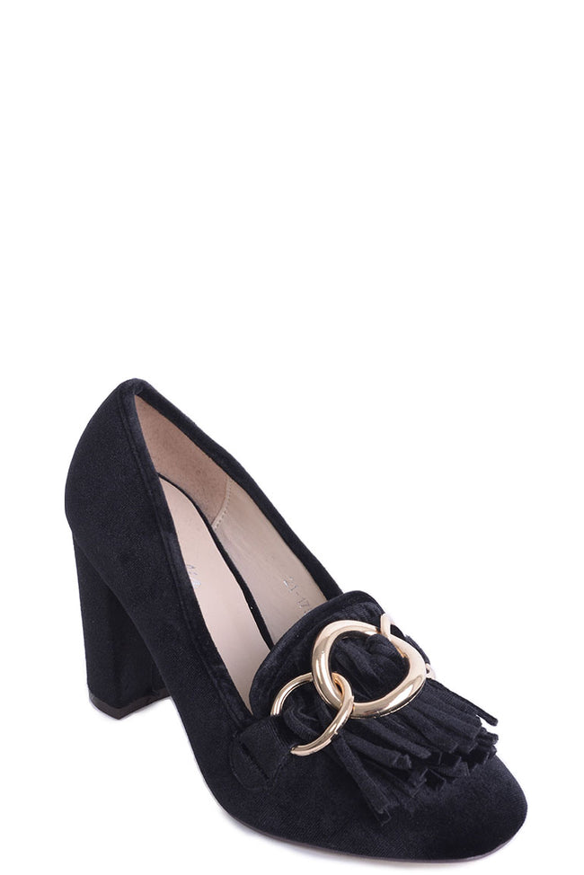 Black Velvet Heels with Tassel and Ring Detail-Fabulous Bargains Galore