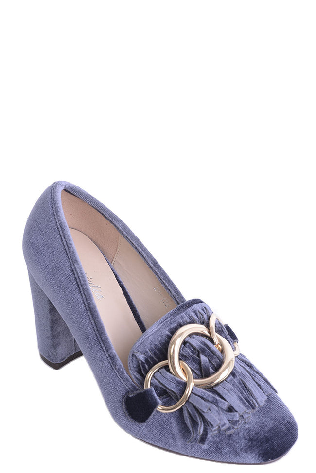 Grey Velvet Heels with Tassel and Ring Detail-Fabulous Bargains Galore
