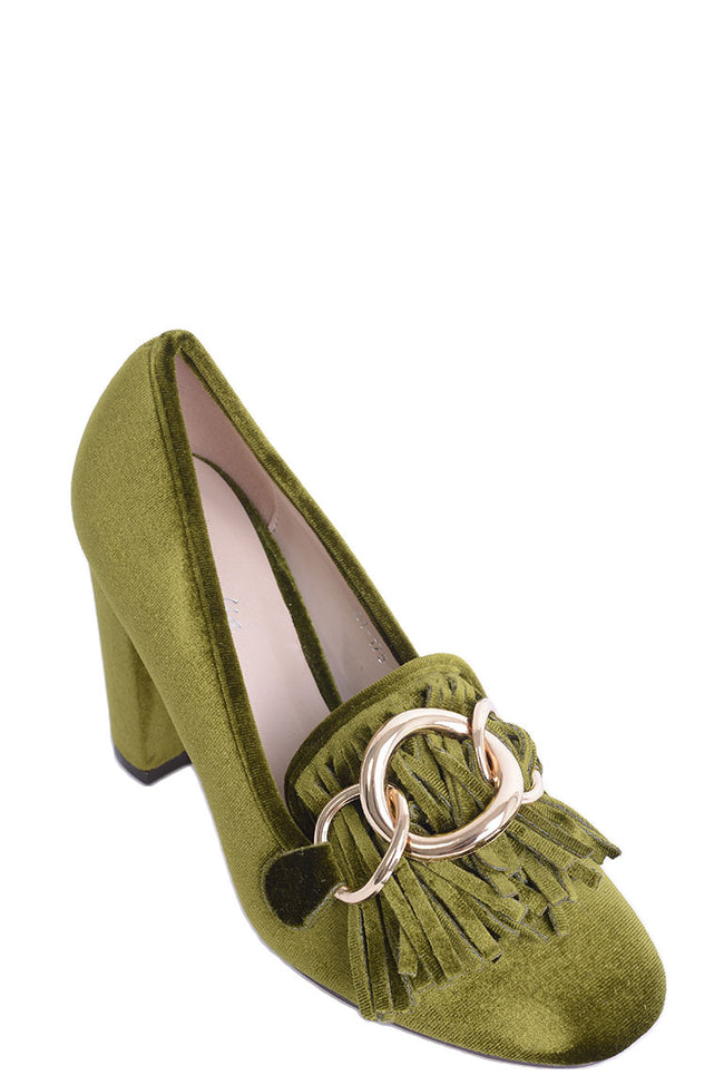 Green Velvet Heels with Tassel and Ring Detail-Fabulous Bargains Galore