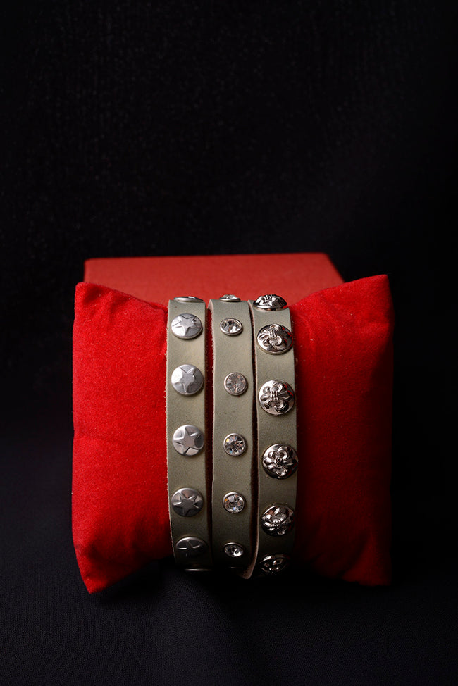 Vintage Inspired Leather Embellished Bracelet-Fabulous Bargains Galore