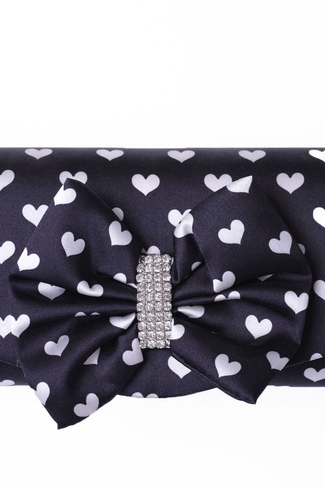 Clutch Bag With Ribbon In Black-Fabulous Bargains Galore