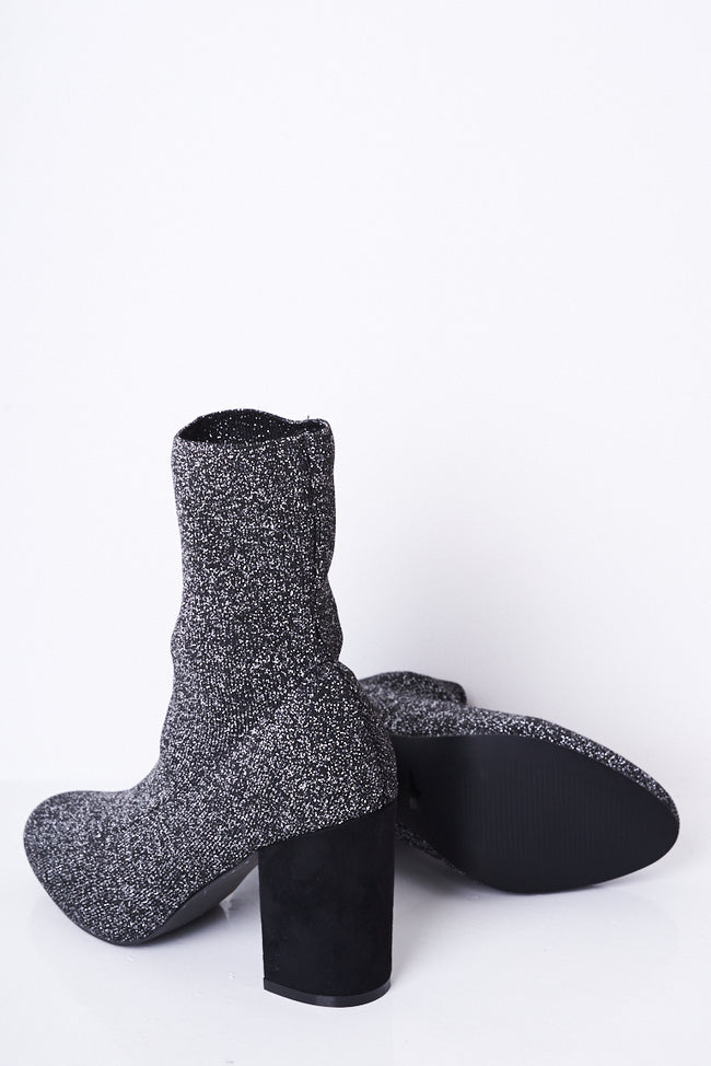 Black Glitter Stretch Sock Boots-Fabulous Bargains Galore