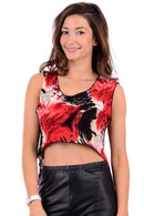 Cropped Red and Black Top-Fabulous Bargains Galore