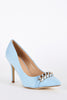 Faux Suede Court Shoes with Chain Detail