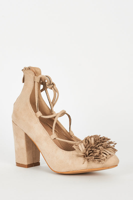Beige Lace Up Fringed Faux Suede Block Heel Shoes-Fabulous Bargains Galore