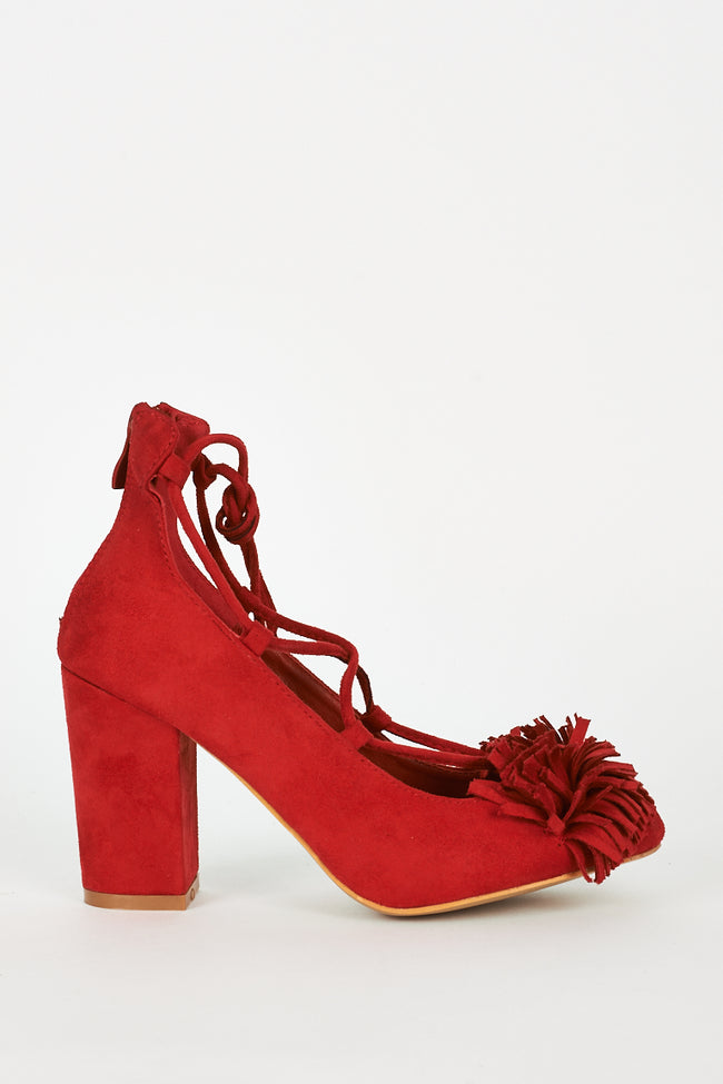 Red Lace Up Fringed Faux Suede Block Heel Shoes-Fabulous Bargains Galore