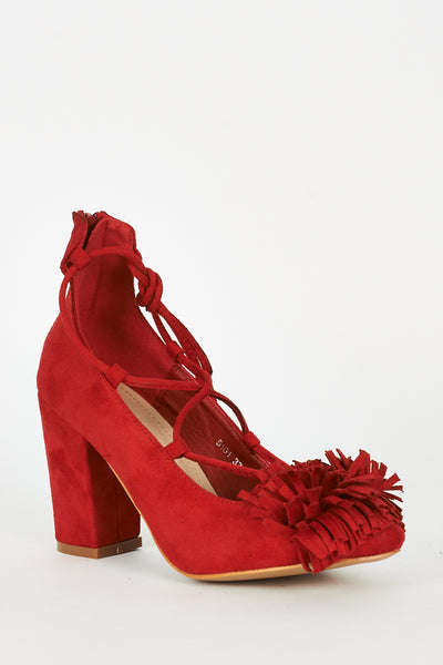 Red Lace Up Fringed Faux Suede Block Heel Shoes