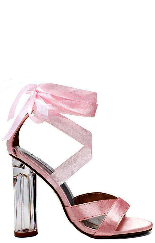 Pink Satin Lace Up Perspex Heels-Fabulous Bargains Galore