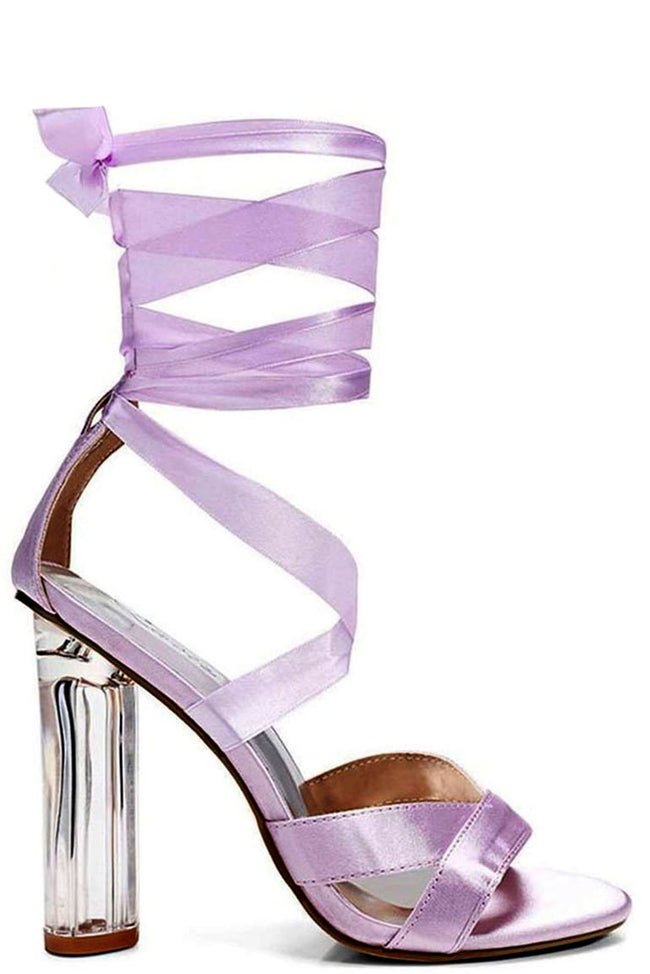 Lilac Satin Lace Up Perspex Heels-Fabulous Bargains Galore