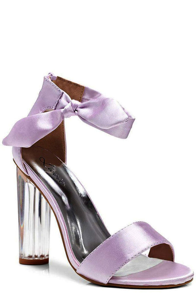 Lilac Satin Perspex Heel Sandals-Fabulous Bargains Galore