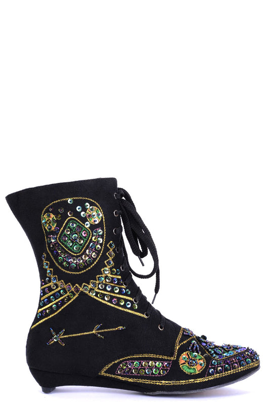 Embellished Black Ankle Boots-Fabulous Bargains Galore