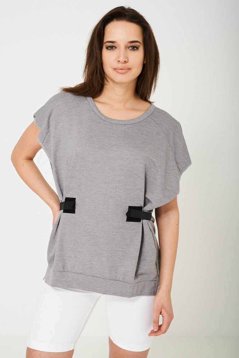 Oversized Top in Light Grey-Fabulous Bargains Galore