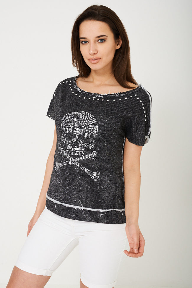 Studded Skull Top-Fabulous Bargains Galore