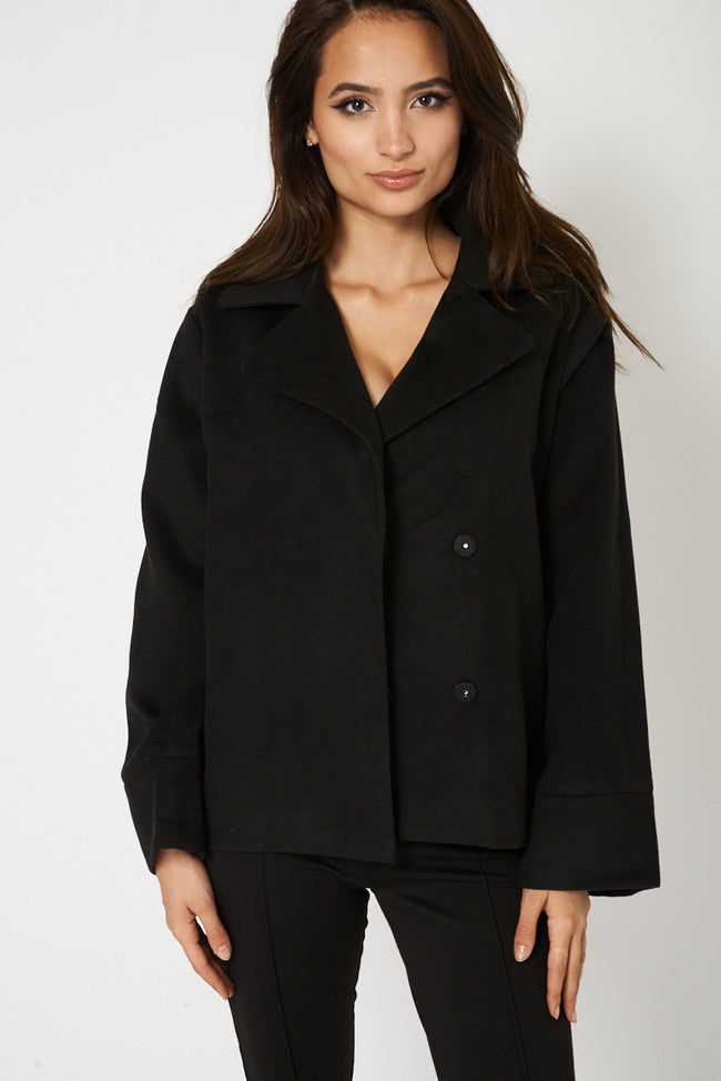 Relaxed Fit Short Coat In Black-Fabulous Bargains Galore