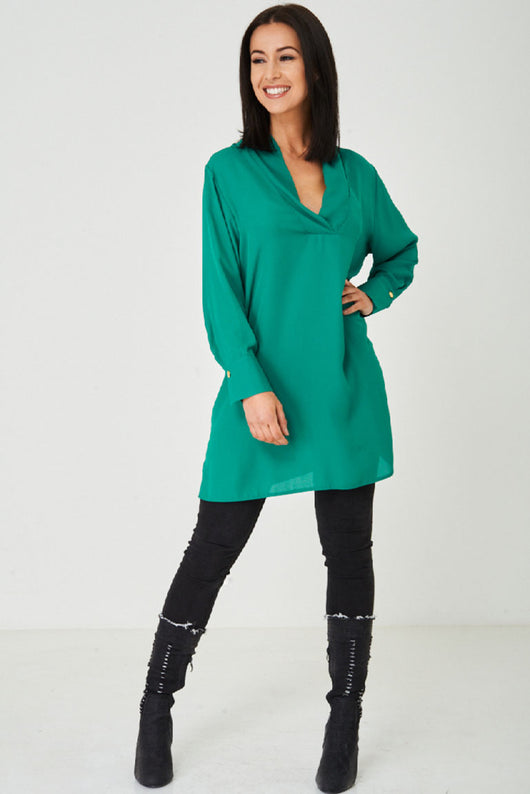 Jothirty Green Shirt Style Shift Dress-Fabulous Bargains Galore