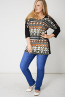 Laser Cut Out Sleeve Top With Abstract Print-Fabulous Bargains Galore