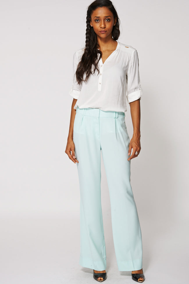 Mint Pleated Sheer Summer Trousers Ex-Branded-Fabulous Bargains Galore