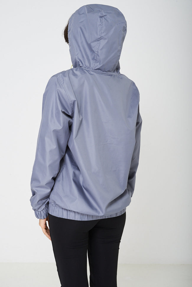 Grey Windbreaker Jacket with Hoodie-Fabulous Bargains Galore