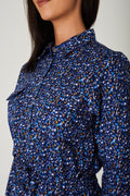 Floral Print Shirt Dress in Blue-Fabulous Bargains Galore