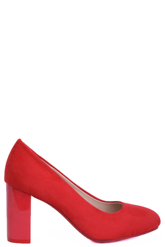 Red Faux Suede Block Heels-Fabulous Bargains Galore