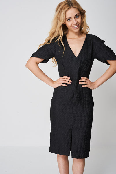 Textured Dress With Seam Detail