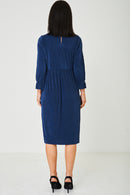 Blue Pleated Dress Ex Brand-Fabulous Bargains Galore