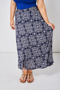 Navy Summer Skirt With Abstract Print Ex-Branded-Fabulous Bargains Galore