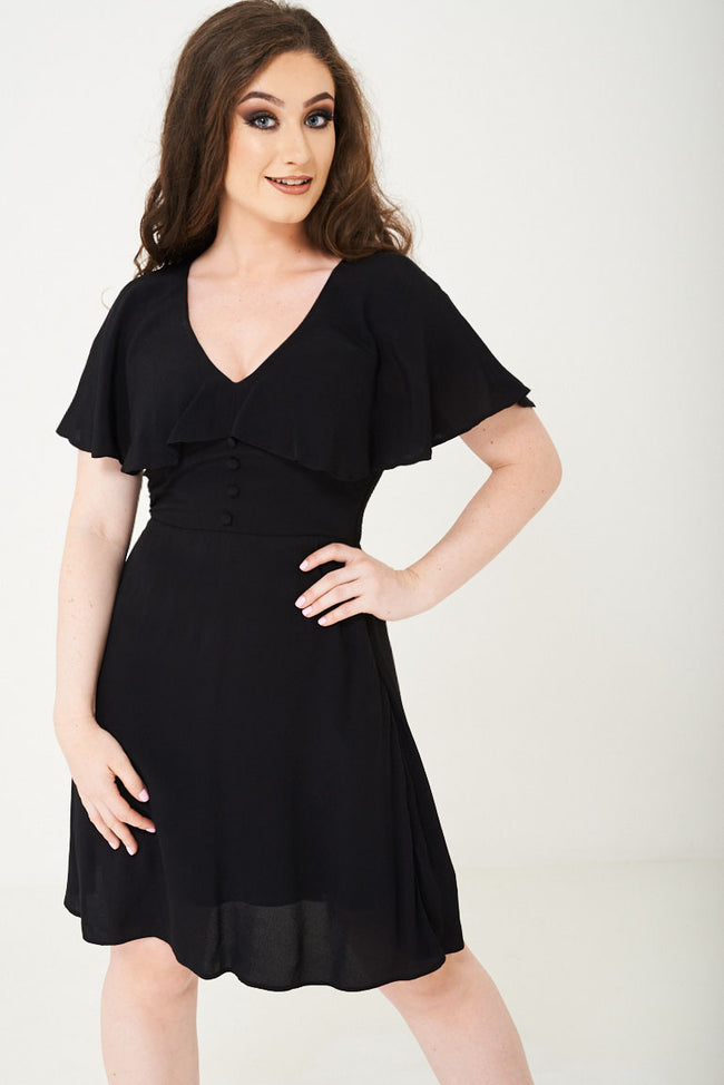 Black Skater Dress With Ruffle Layer Ex Brand-Fabulous Bargains Galore