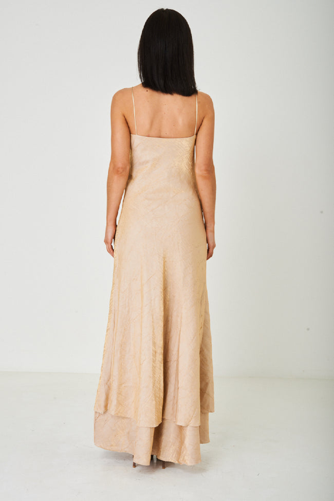 Beige Fishtail Maxi Dress-Fabulous Bargains Galore
