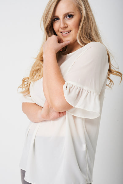 PLUS Frill Sleeve Top in Cream