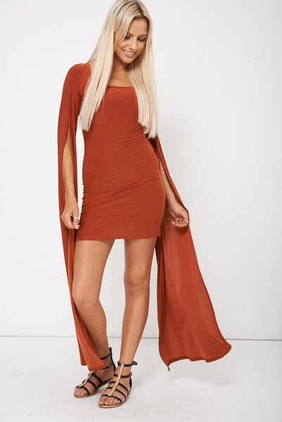 Rust Brown Dress With Draped Sleeves