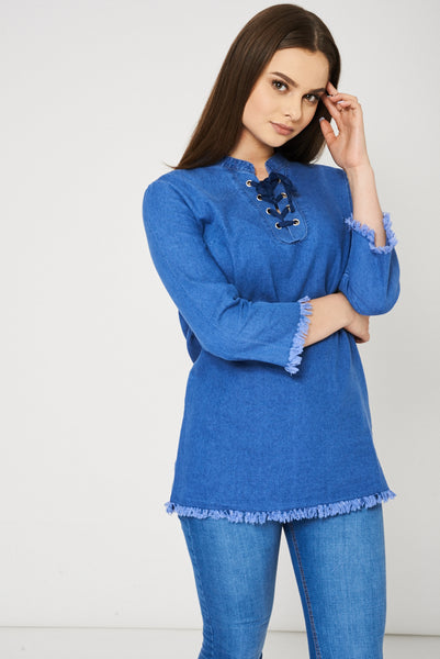 Lace Up Front Denim Top In Blue Ex-Branded