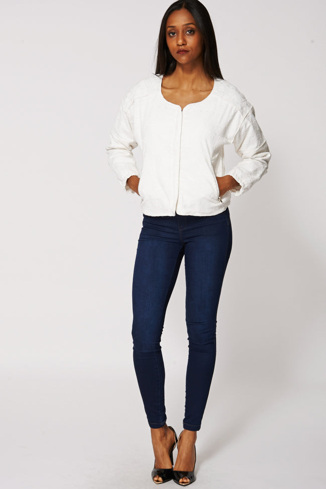 Texture Front Zip Jacket With Silver Stitching-Fabulous Bargains Galore