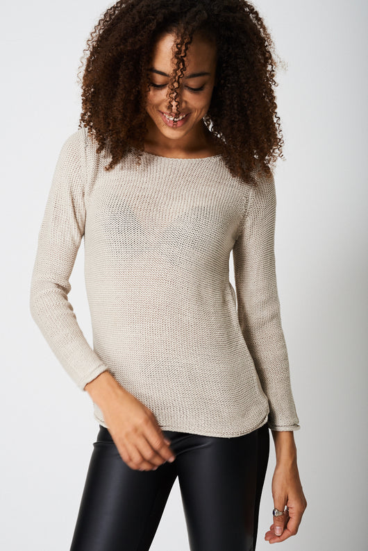 Knitted Jumper In Beige-Fabulous Bargains Galore