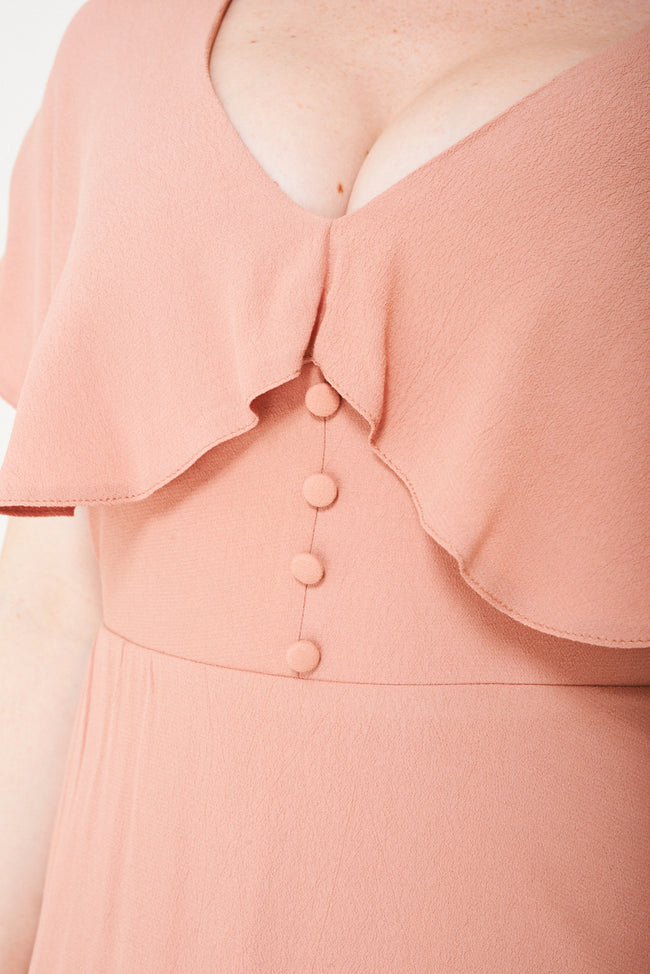 Peach Skater Dress With Ruffle Layer Ex Brand-Fabulous Bargains Galore
