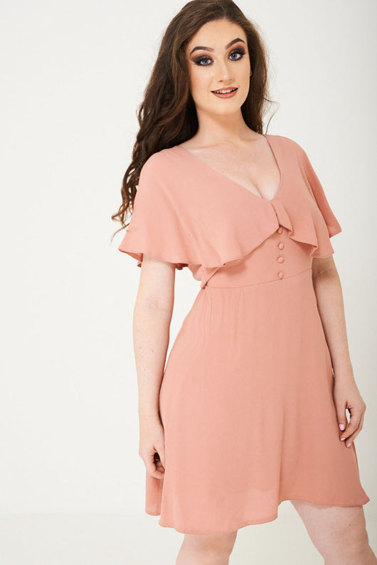 Peach Skater Dress With Ruffle Layer Ex Brand - Fabulous Bargains Galore