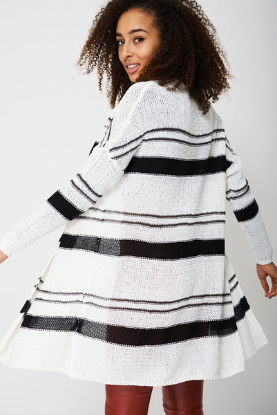 Longline Knitted Cardigan with Stripes