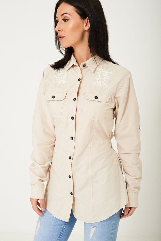 Tie Waist Shirt in Cream Ex Brand-Fabulous Bargains Galore