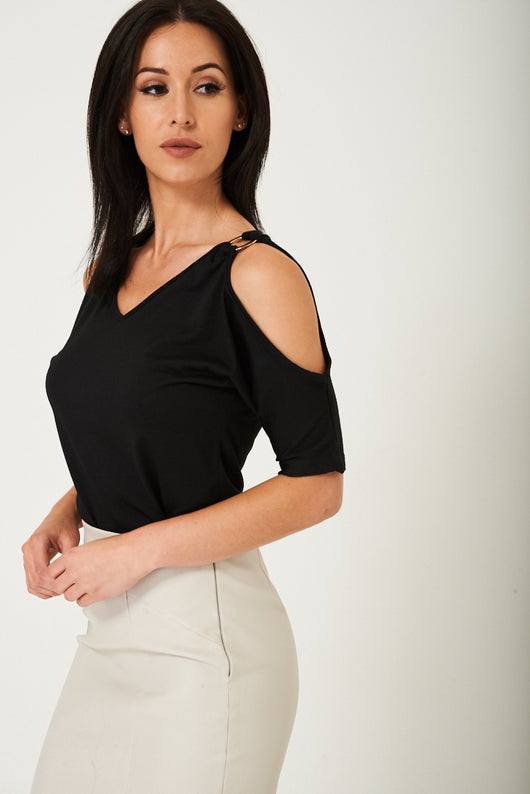Black Cold Shoulder Top-Fabulous Bargains Galore