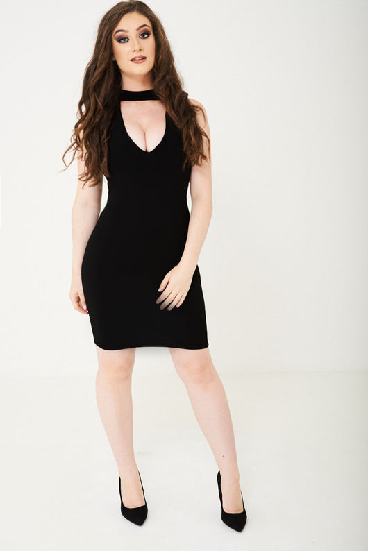 Slinky Black Bodycon Dress Ex Brand-Fabulous Bargains Galore