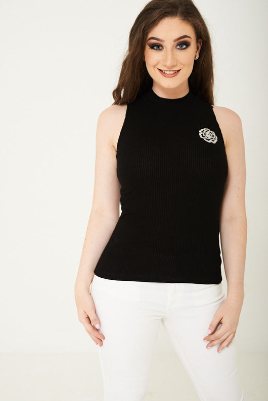 High Neck Sleeveless Top in Black-Fabulous Bargains Galore