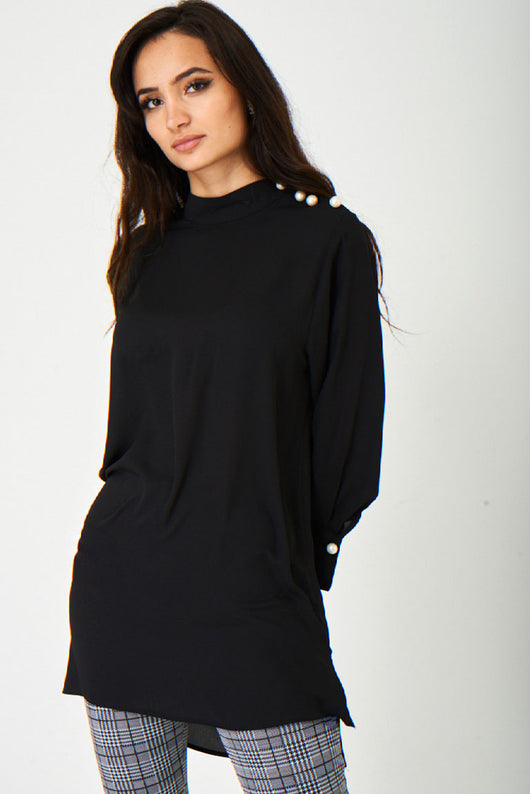 Jothirty Black Top with Pearl Buttons-Fabulous Bargains Galore