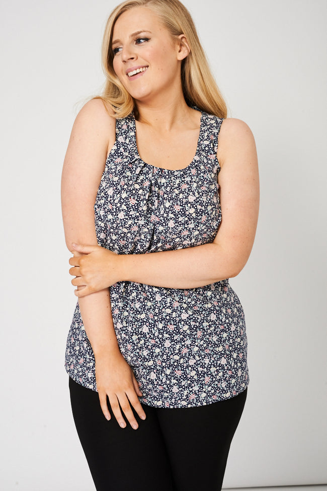 Floral Pattern Pleat Front Sleeveless Top-Fabulous Bargains Galore