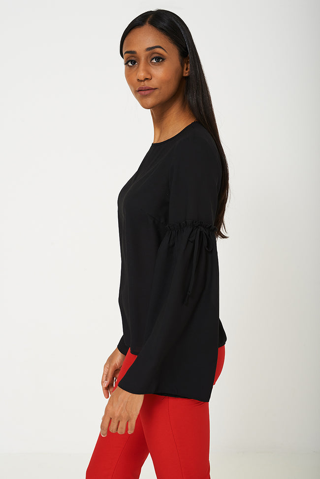 Volume Sleeve Blouse in Black Ex Brand-Fabulous Bargains Galore