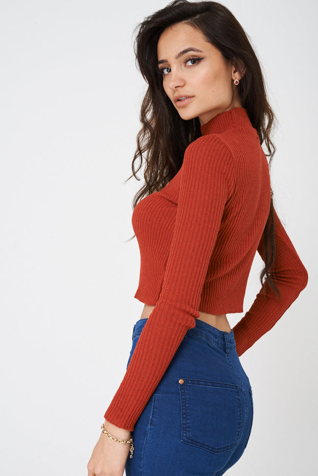 Orange Ribbed Crop Top Ex Brand-Fabulous Bargains Galore
