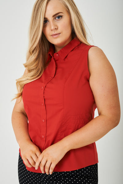 PLUS SIZE Sleeveless Red Shirt Ex Brand