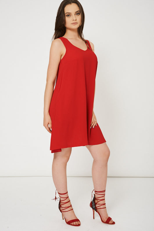 Red Dress With Side Pockets - Fabulous Bargains Galore