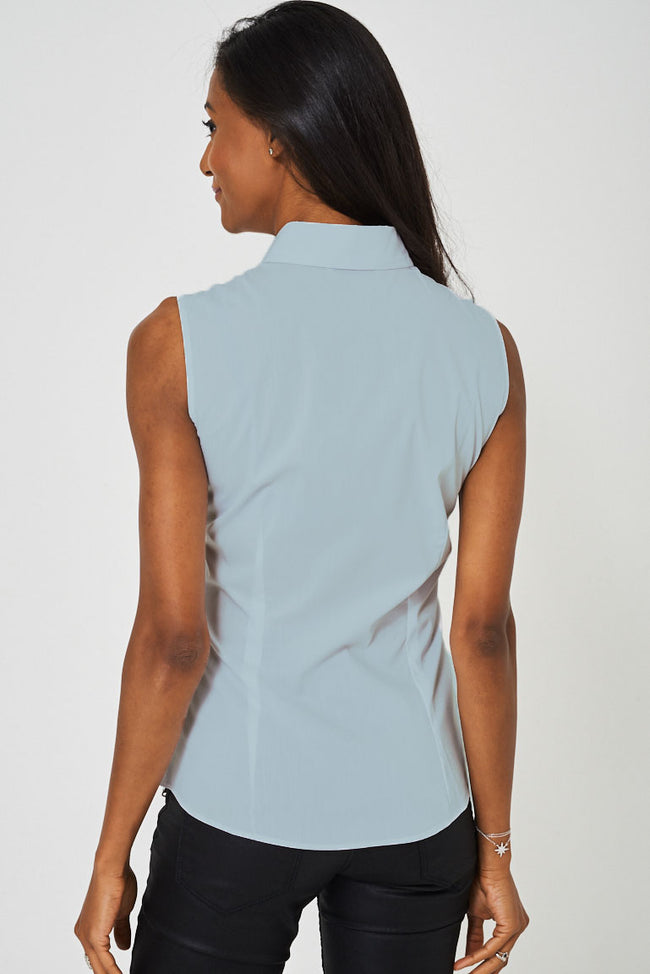 Sleeveless Blue Shirt Ex Brand-Fabulous Bargains Galore