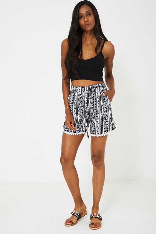 Crochet Detail Shorts in Aztec Print-Fabulous Bargains Galore